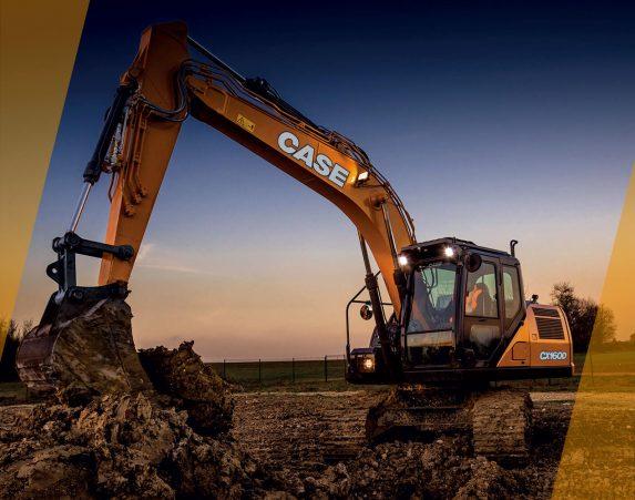 Case construction, maarakennus, maarakennuskoneet, kaivukoneet, kaivinkoneet, normaaliperäinen telakaivukone, konevuokraus, konemyynti, konevuokraamo, Rentti